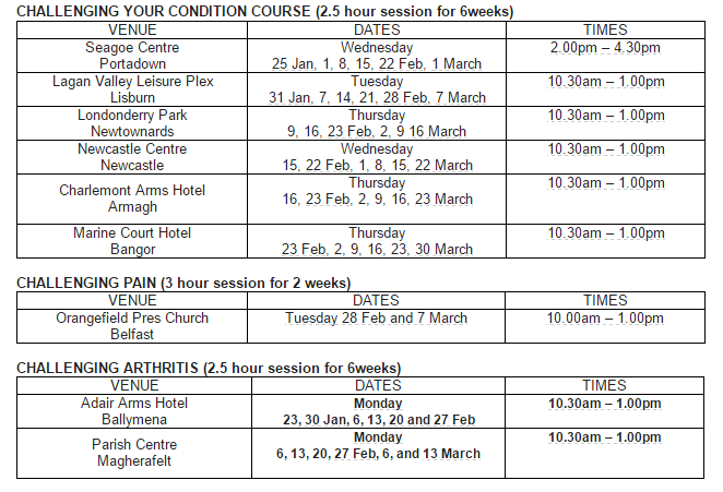 Arthritis Northern Ireland - Free course timetable